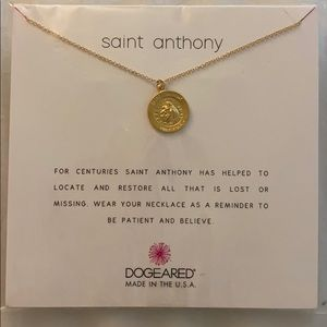 DOGEARED Saint Anthony Gold 16 in necklace NWT